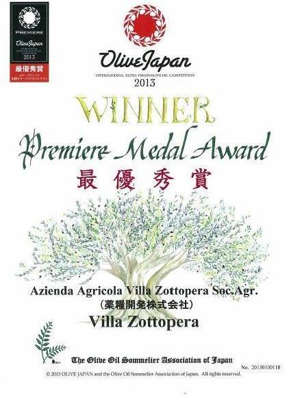 2013年度オリーブジャパン最優秀賞受賞の賞状の写真