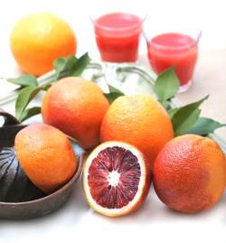 ブラッドオレンジの果実と果実を搾る調理器具、後ろに並べられたグラスに注がれたブラッドオレンジジュースの写真