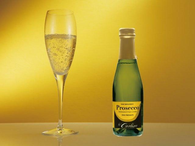 グラスに注がれたワインと辛口スパークリングワインプロセッコの商品写真