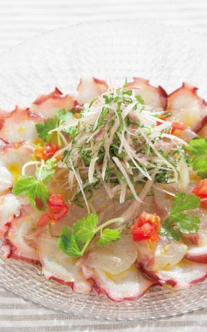 真鯛とタコのカルパッチョの料理写真