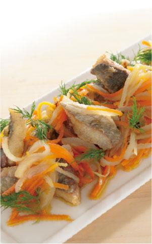 魚介(鱈)のエスカベッシュカレー風味の料理写真