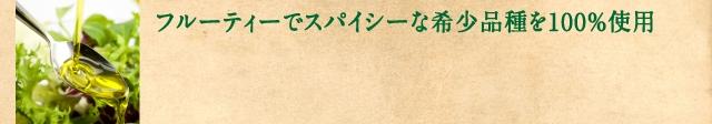 フルーティーでスパイシーな希少品種を100%使用の文字とオリーブオイルをスプーンに垂らしている写真