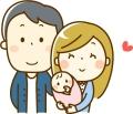 お父さんに並んでお母さんが赤ちゃんを抱っこしているイラスト