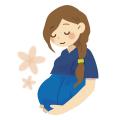 妊婦さんがお腹をさすっているイラスト